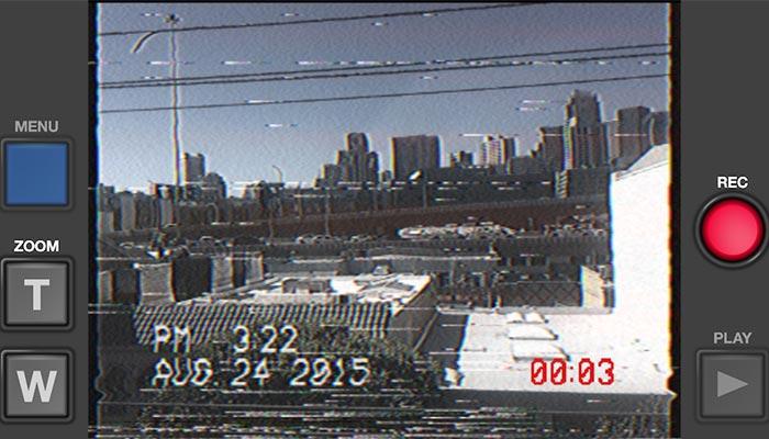 80's styled landscape image of a city.