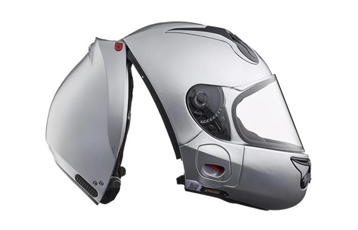 Silver Vozz Helmet, rear opening, on a white background, side view.