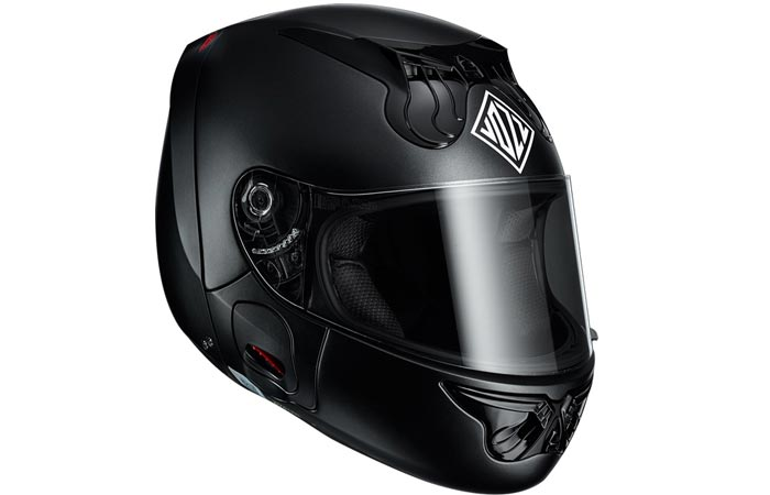 Vozz Helmet. Black, closed, tilted, on a white background.