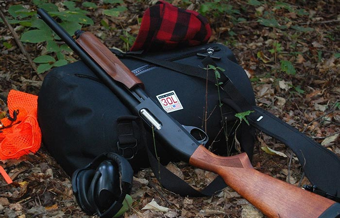Madwater bag photographed by the hunting equipment.