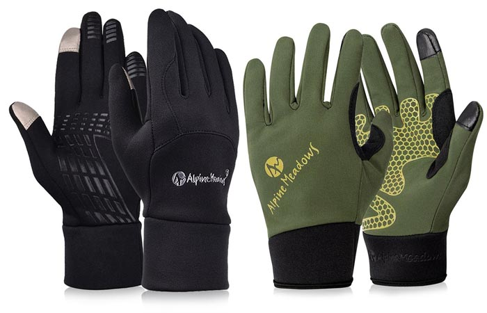 Outdoor Cycling Driving Warm Touchscreen Gloves by Vbiger, black and olive green, on a white background.