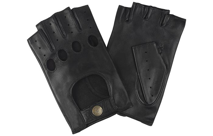 Men's Unlined Fingerless Leather Driving Gloves by Stirling, black, on a white background.