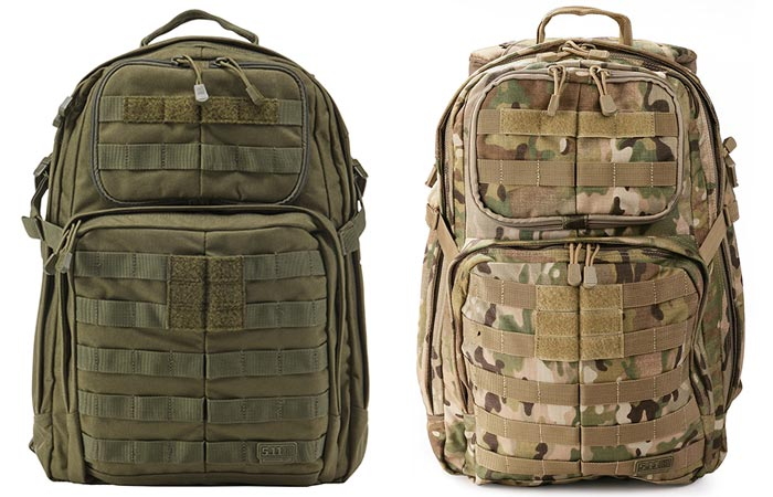 5.11 Rush 24 Tactical Backpacks, OD (olive) and Multicam, front view, on a white background.
