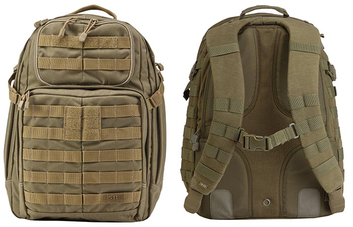 5.11 Rush 24 Tactical Backpack, Sandstone, front and back view, on a white background.