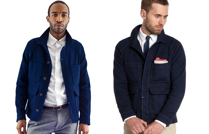 Apolis Wool Chore Jacket, worn by two men, front view, on a white background.