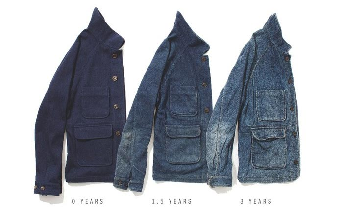 Apolis Wool Chore Jacket, color fading process over the years, three halves of the jacket, on a white background.