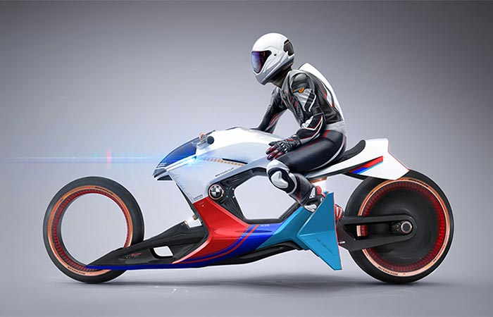 BMW iMotorrad Beta R with a driver