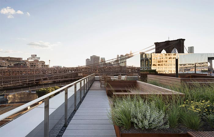 Brooklyn Apartment Building With Communal Roof Garden Walkway