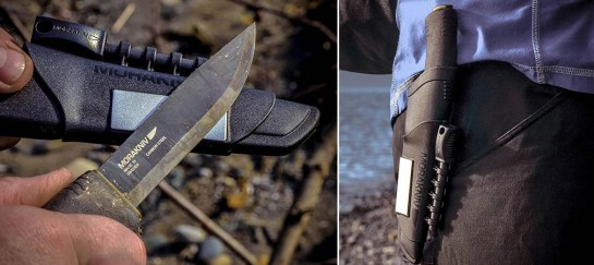 Bushcraft Survival Black With Integrated Fire Starter