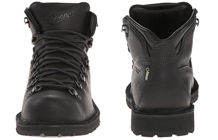 Danner Men's Mountain Pass Boots, Charcoal Black, front and back view, on a white background.
