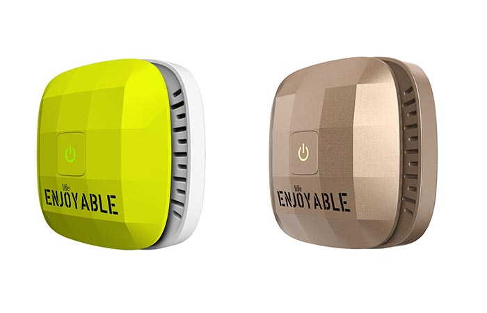 Enjoyable Life Smart Car Air Purifier Yellow And Gold
