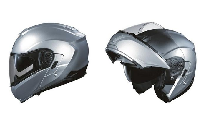 Kabuto Modular Adult Ibuki Cruiser Motorcycle Helmet, silver, side view, closed and open, on a white background.