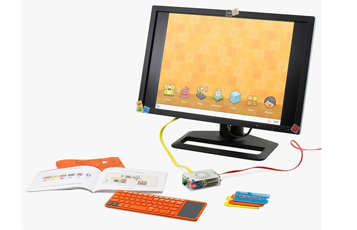 Kano kit attached to the screen.