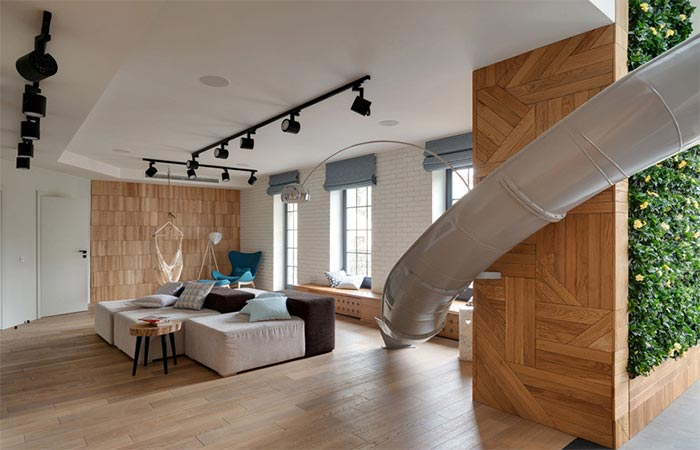 A Slide leading to a living room
