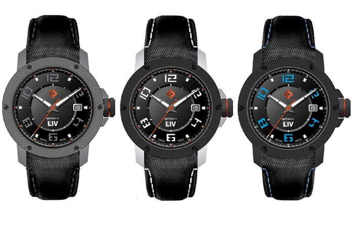 Three LIV Genesis X1A watches, with black casings and different hands and index colors. On a white background.