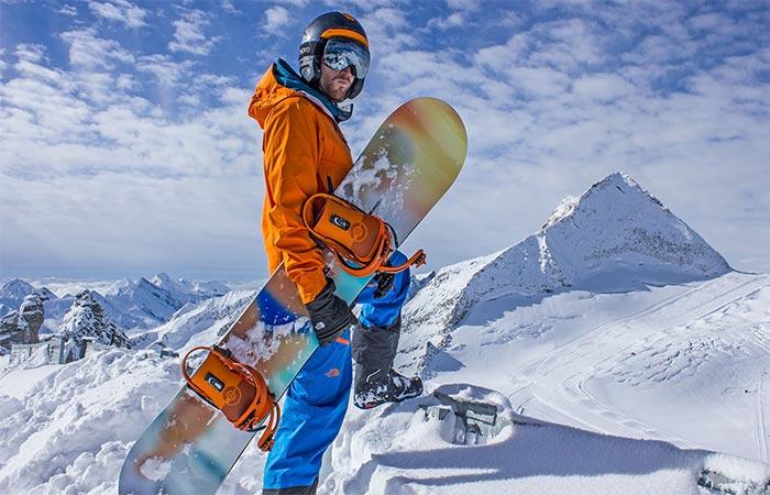 Snowboarder With LinkPro Sports 'Explore1' Skiing Helmet