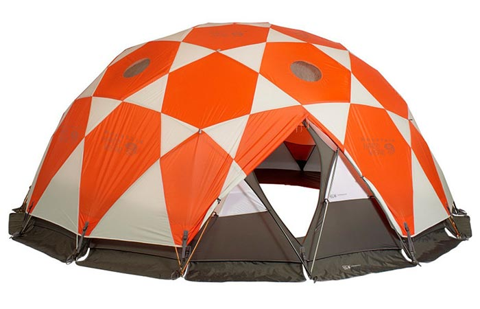 Mountain Hardwear Space Station Tent, with opened zipper door, on a white background.