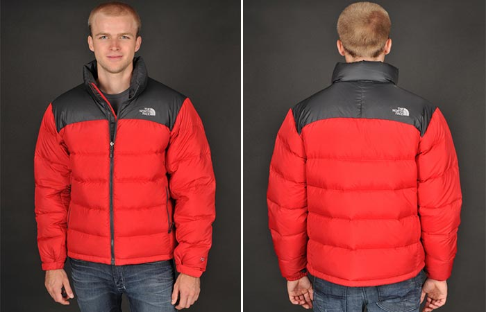 A man in red jacket photographed from the front and back.