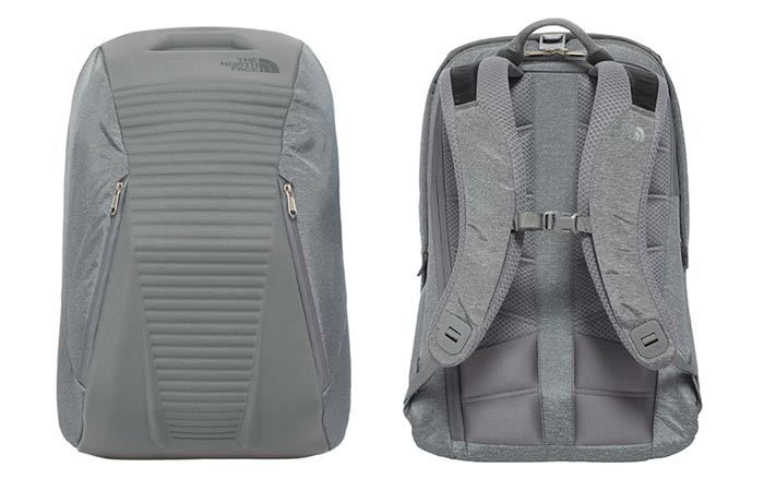 Two North Face Access Packs, grey, closed, front and back view, on a white background.