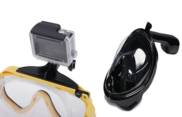 Octobermoon Black Full Face Snorkel adn Black Scuba Mask With Gopro Camera Mount