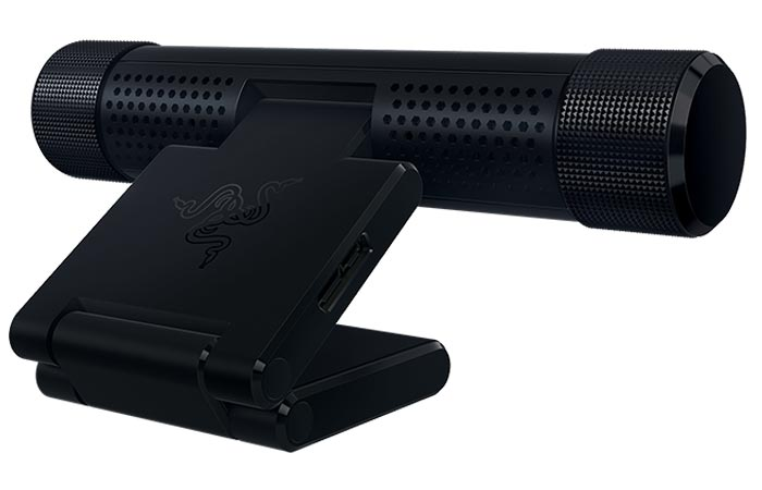 Razer Stargazer RealSense 3D Camera, back view, tilted, on a white background.