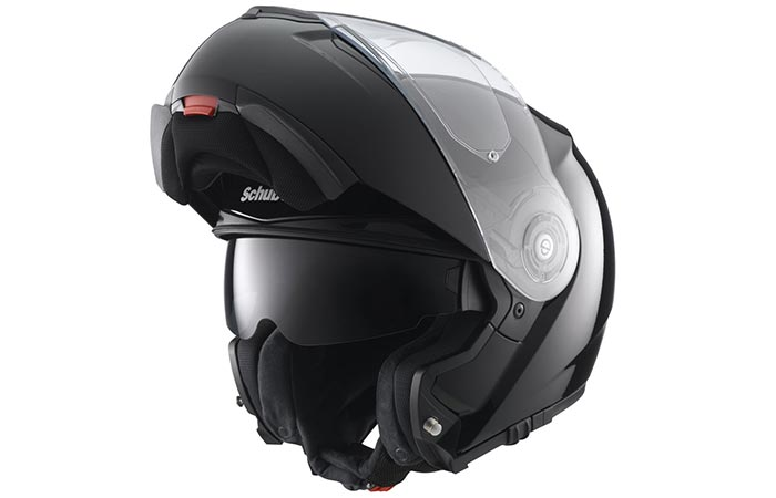 Black helmet with an open front end captured from an angle.