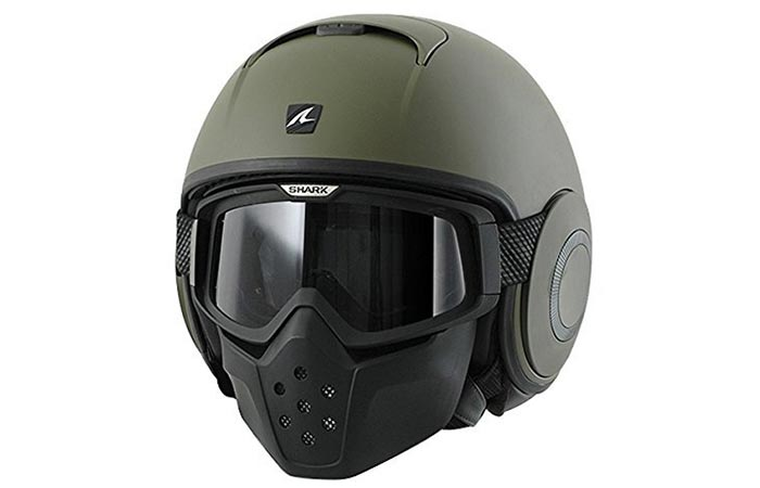 Green helmet captured from the front.