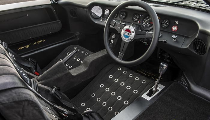 The interior of the car captured from an angle.