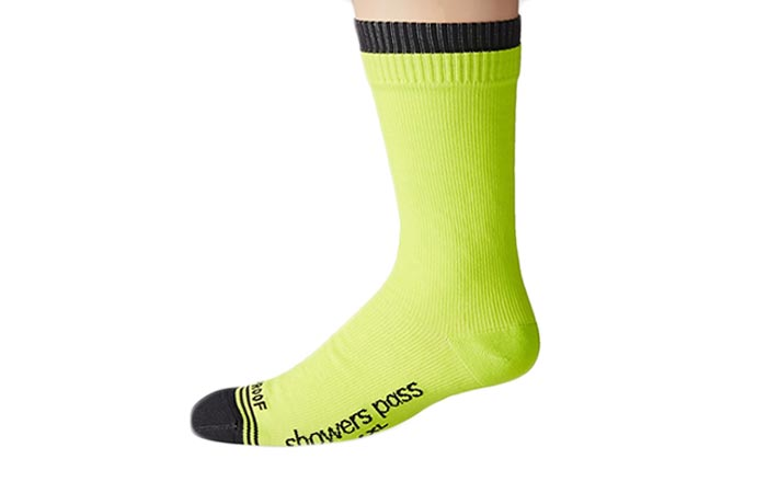 Showers Pass Waterproof Crew Sock, neon yellow side view, on a white background.