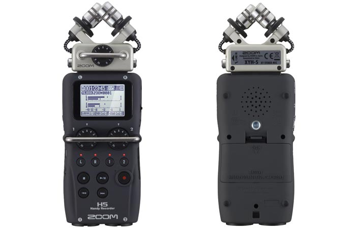 Zoom H5 Four-Track Portable Recorder, front and back view, on a white background.