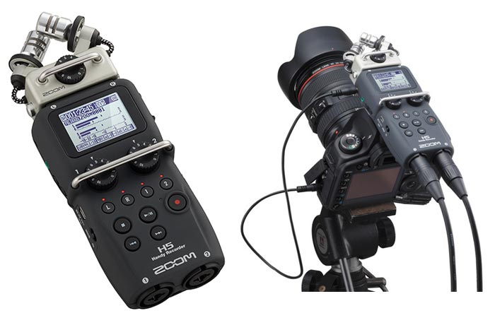 Zoom H5 Four-Track Portable Recorder, tilted, and mounted on a camera, on a white background.