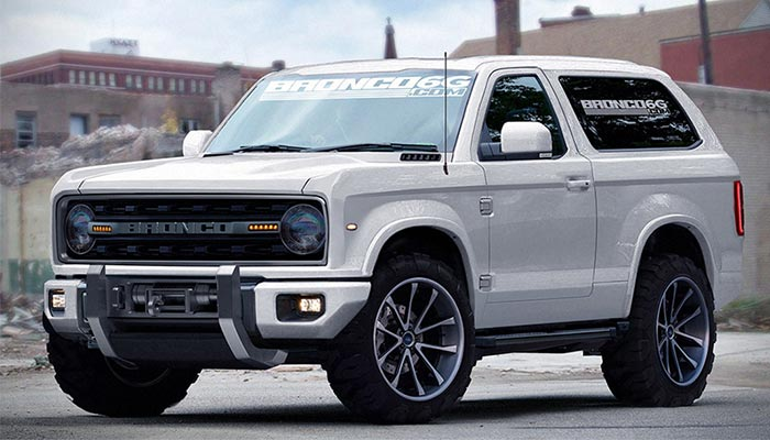 White Ford Bronco captured from the side.