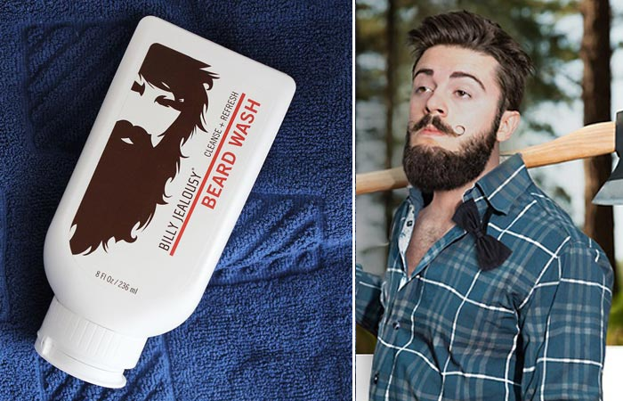 Billy Jealousy Beard Wash lotion tilted on a blue towel and a bearded man in a green shirt carrying an axe in the woods.