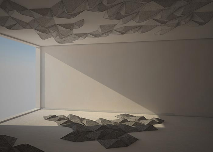 Grey cushions located on ceiling and floor.