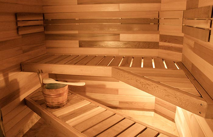 The interior of the sauna.