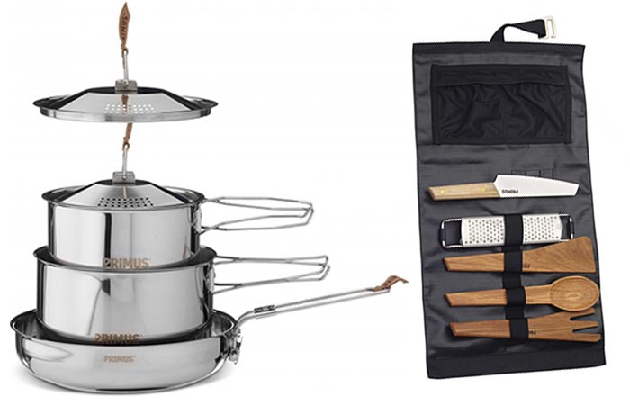 Primus Campfire Cookset, Small, and Campfire Prep Set, on a white background.