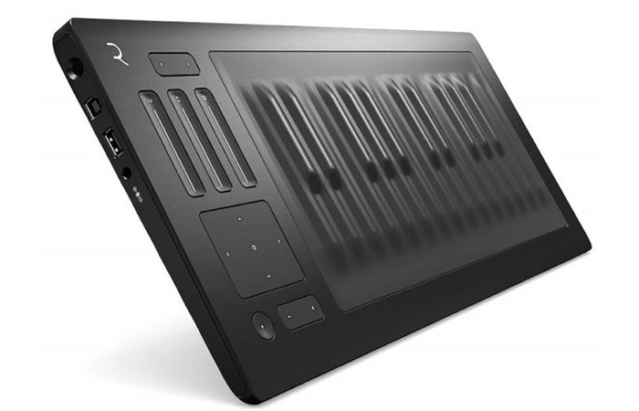 Roli Seaboard Rise, tilted side view, on a white background.