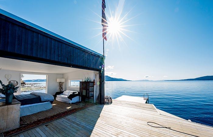 Satellite Island Boathouse and dock.