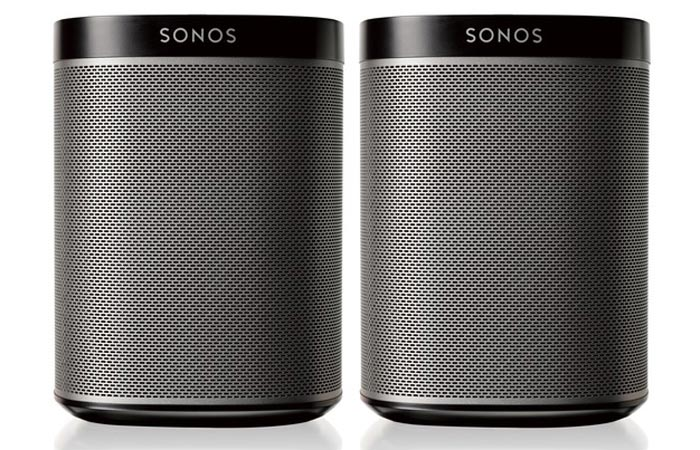 Sonos 2 Room Starter Set speakers on a white background.