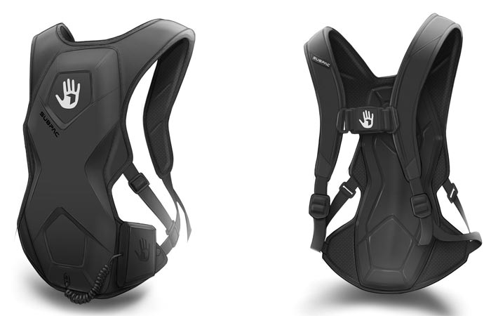 SubPac M2 front view, tilted, and back view, on a white background.