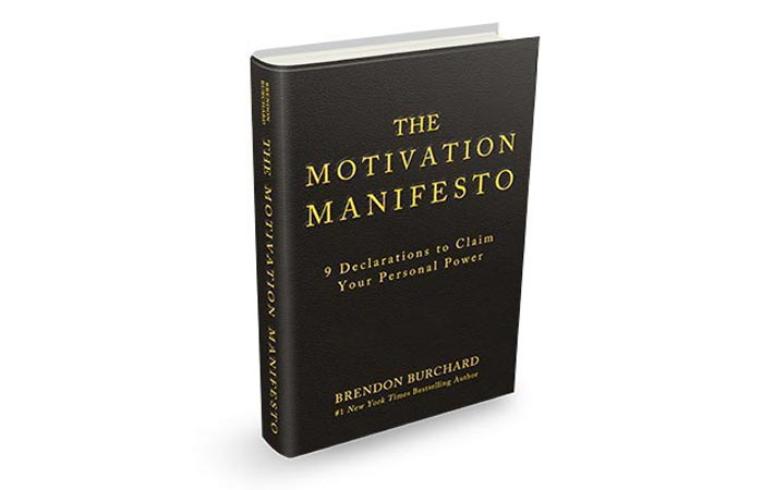 The Motivation Manifesto by Brendon Burchard, slightly tilted on a white background.