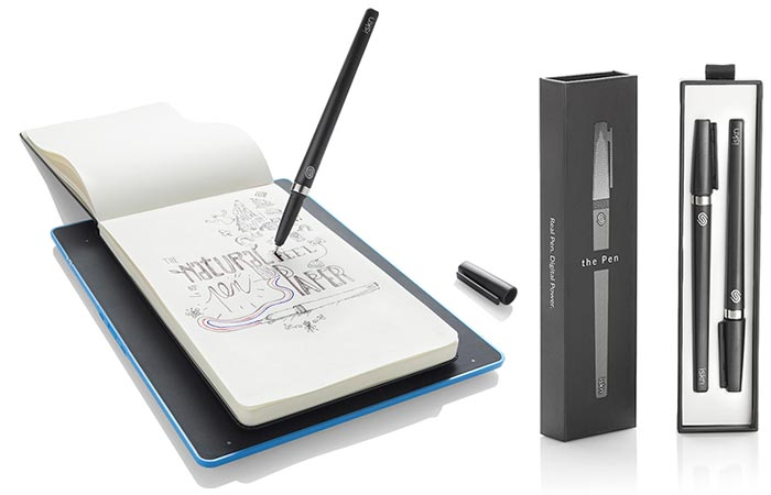 The Slate - Smart Drawing Pad with a notebook and a pen and the pen case on the right, on a white background.
