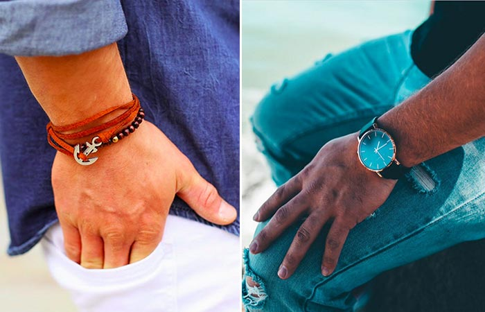Thread Etiquette Chestnut Leather Anchor Bracelet and Classic – Rose Gold / Black Leather Timepiece worn on the hands of two people, first in white jeans and blue shirt, the other in blue jeans and black shirt, side view.