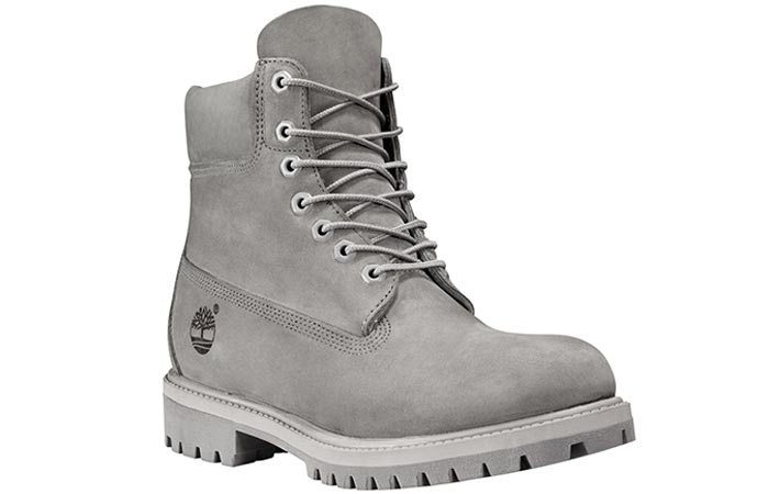 Timberland 6 inch Mono Grey Boot, tilted front view, on a white background.