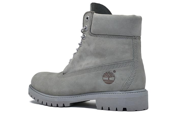 Timberland 6 inch Mono Grey Boot, side view, on a white background.