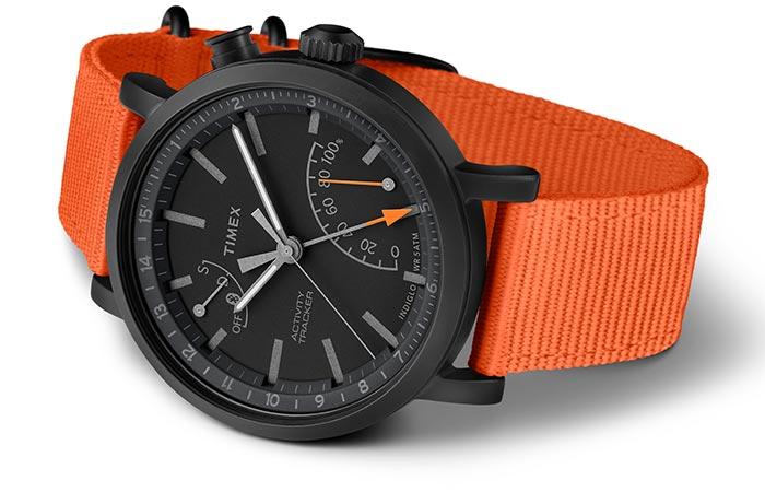Timex Metropolitan Plus Activity Tracker With An Orange Nylon Strap