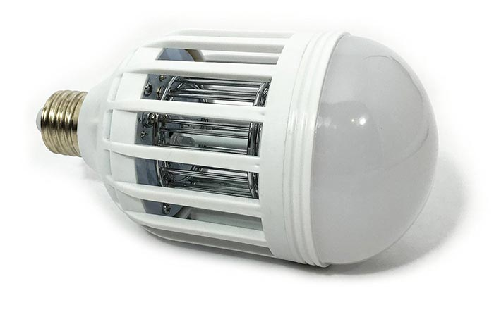 Bug Terminator Ultimate Mosquito Killer and Pest Control LED Bulb, laid slightly tilted on a white background.
