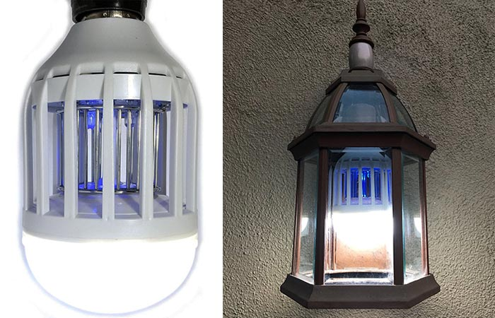 Bug Terminator Ultimate Mosquito Killer and Pest Control LED Bulb hung and lit alone on a white background and inside a lantern.