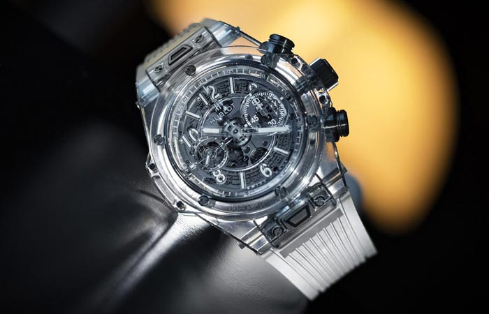 Hublot Big Bang UNICCO Sapphire with transparent strap, tilted.