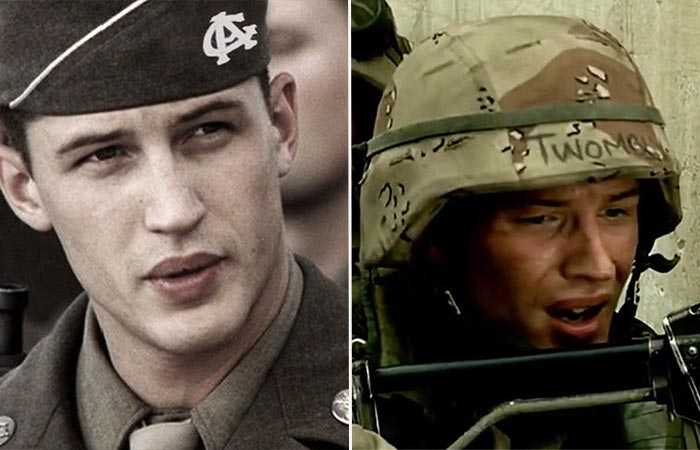 Tom Hardy in Band of Brothers and Black Hawk Down